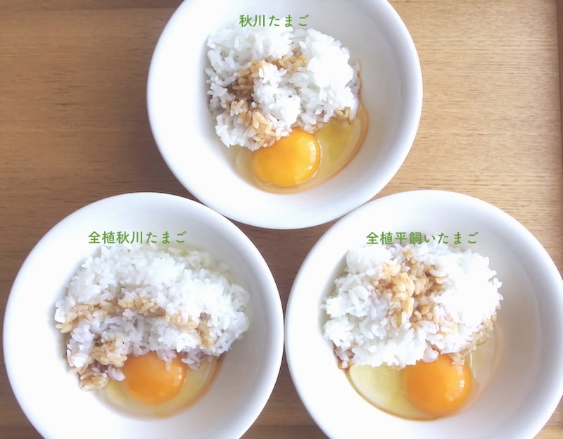 卵かけごはんにした、秋川牧園の卵(3種類)